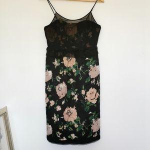 NWOT Club Monaco Floral Silk and Chiffon Dress